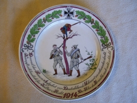 Remembrance plate German soldiers and a monkey in french uniform. Karikatuurbord WO1