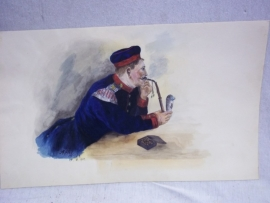 Original water-coloured painting, German soldier with pipe. Originele aquarel Duitse muzikant met Kratschen, zeer leuke voorstelling gesigneerd A.Pfeifer 1901