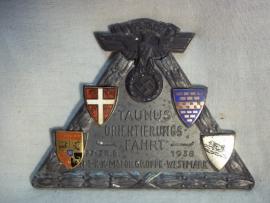 German plaque of the NSKK Taunus orientierungsfahrt NSKK Motorgruppe Westmark 1938, Duitse plaquette NSKK met maker Adam Donner Elgerfeld.