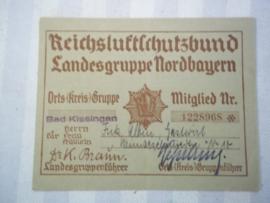 Membershipcard. ledenkaart van de Reichsluftschutzbund.