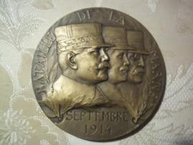 French medal Marne Battle septembre 1914 nice decoration. j.p.l.e. Gastelois. Franse penning, Marne zeer mooie uitvoering diameter 7 cm. mooie gevechtsscene.
