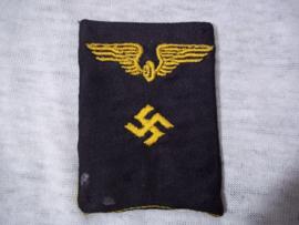 Duits enkel kraagpatje Reichsbahn geborduurd. Kragenspiegel fur beambten Reichsbahn.