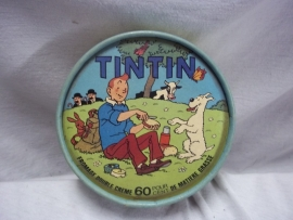 Cheesebox with Tin Tin, Kuifje. Kartonnen kaasdoosje met afbeelding van stripheld KUIFJE