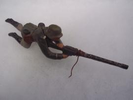 German toy soldier ELASTOLIN with MG.Duits speelgoedsoldaatje met Mitrailleur. goede staat