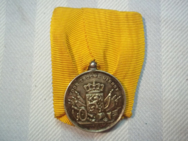 Dutch silver medal good service. Nederlandse trouwe Dienst medaille zilver, achterop de letter J.