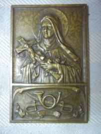 Belgium plaque,Christian talisman,  with army badge. Katholieke amulet, gegeven aan soldaten van  de 1e  Jagers te paard,  afgebeeld Maria en het embleem van het legeronderdeel zeer zeldzaam item.