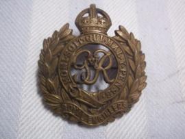 British cap badge as sweatheart. Engels petembleem ROYAL ENGINEERS als sweatheart.
