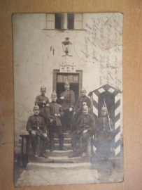 German postcard Eisenbahn Regiment, soldiers with Hessen spikehelmets.1914.Duitse kaart apart regiment Pickelhauben Hessen 1914