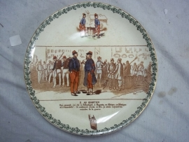 French remembrance plate 1870 nice decorated.Frans herinneringsbord met militaire afbeeldingen.
