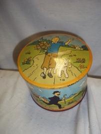 Nice tin with TIN TIN decoration 1966. Blikje met afbeelding van Kuifje, nog in goede staat, getekend door Herge
