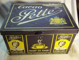 Storage tin , Voorraad blik Cacao,PETTE. gebruikt, maar zeer apart.