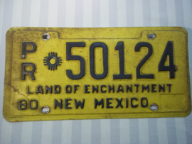 License plate, nummerplaat New- Mexico 1980