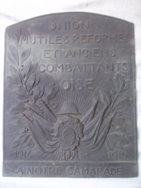 Remembrance plaque France 1914-1919. UNION MUTILES REFORMES ET ANCIENS COMBATTANTS OISE. Herinnerings plaquette Franse soldaat die verminkt is. 1914-1919, zeer bijzonder.