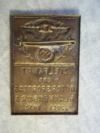 German tinnie, rally badge, Duitse Tinnie Zielfahrt und motorsporttag Blankenburg juli 1933 NSKK, zeldzaam.