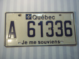 License plate, nummerplaat Quebec