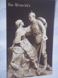 Duitse postkaart WIEDERSEHEN beschreven.