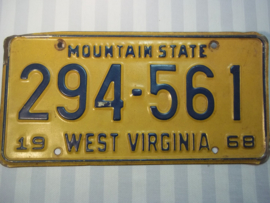 License plate, nummerbord West- Virginia 1968
