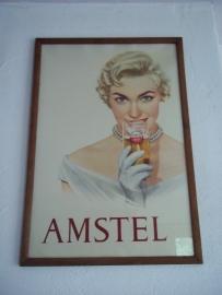 Advertisment  billboard, poster Amstel beer original.Reclameplaat Amstel jaren 60 zeer zeldzaam ingelijst achter glas origineel