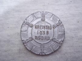 German tinnie, rally badge, Duitse tinnie Kreistag 1938 NSDAP.