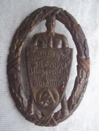 German tinnie, rally badge, Duitse tinnie Wettkampftage SA Gruppe Niederrhein 1938 Duisburg