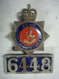 Indentification badge with number of the Sussex police.Politiebrevet met persoonlijk nummer. apart goede staat