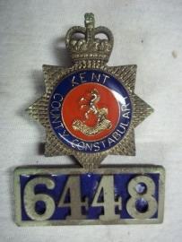 Indentification badge with number of the Sussex police.Politiebrevet met persoonlijk nummer. apart goede staat