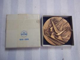 Bronzen penning KLM 1919-1969- 50 jaar in doosje