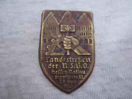 German tinnie, rally badge, Duitse tinnie Landestreffen der N.S.B.O. - Hessen-Nassau, Frankfurt am M. 27 aug.1933 zonder speld, without pin.