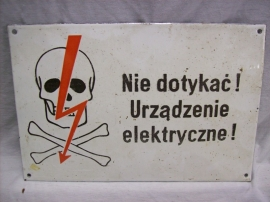 Geemailleerd bordje Oost Europa, waarschuwing voor electriciteit, leuke afbeelding