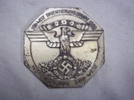 German badge NSKK Motorgruppe Sud west Orientierungsfahrt 1938 8cm.Duitse NSKK herinneringsplaquette