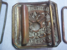 French fire department buckle 1920. Franse gesp koper brandweer.