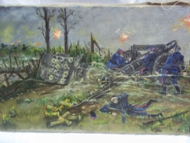 Painting oil on canvas, signed by a battlefield artist. Schilderij franse artilleriestelling in WO1 word aangevallen, gesigneerd TOP