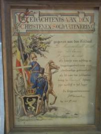 Ingelijste oorkonde Belgisch leger, van de bezinningsvereniging. 1922-1923  3e jager te voet, ondertekent door de aalmoezenier.