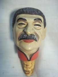 Cork with the face of Stalin. Karikatuur sluitdop, kurk met het hoofd van STALIN.
