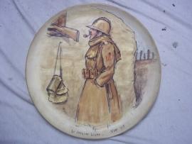 Remembrance plate with a Belgium soldier on the Ijser.Herinneringsbord Belgische soldaat aan de Ijser, met achterop de handtekeningen van de oudstrijders, uit de jaren 50.