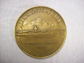 US medal, USS Enterprise, world largest ship.Amerikaanse penning Vliegdekschip