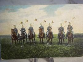 Postkaart belgische lanciers, adres weggestreept.