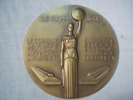 Frans- Belgische penning, ter herinnering van het Cavalerie monument, op naam zijkant is genummerd.