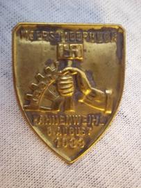 German tinnie Rally badge Duitse tinnie NSBO Fahnenweihe 6 augustus 1933 Moers-Meerbeck, vroeg model.
