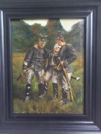 Schilderij olie op canvas gesigneerd J.ROMEIN  --  A mon ami Max. afmeting met lijst 37 x 31 cm.  3 Ulanen waarvan 1 gewond, word gedragen op een geweer. 3e Garde regiment Ulanen.