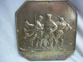 Bronze plaque with Austrian- German mountaintroops. Bronzen plaquette met Oostenrijks- Duitse bergjagers 20 bij 20 cm. zeer bijzonder.