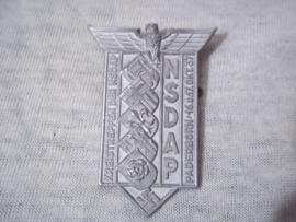German tinnie, rally badge, Duitse tinnie, NSDAP Kreistreffen der NSDAP Paderborn 16.u.17okt.1937, met leuke hersteller.