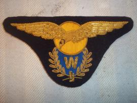 Nederlandse vlieger wing, geborduurd van de Marine Luchtvaart Dienst, M.L.D. Vlieger- Waarnemer. Vooroorlogse aanmaak