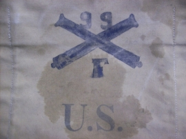 US backpack Rock Island Arsenal 1904-1905, with personal name.Amerikaanse rugzak, artillerie