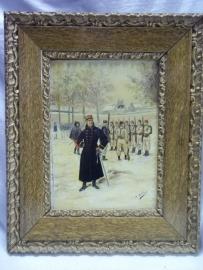 Painting French soldiers excercise. signed M.Millot. Schilderij in lijst olieverf op hout of karton, zeer decoratief leuke voorstelling.34 bij 27 cm.