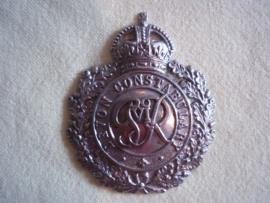 Engels pet of helm embleem DEVON CONSTABULARY. tijdens de regering van George VI, vooroorlogs embleem helaas zonder pinnen.