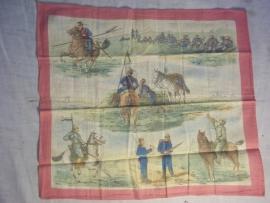 German handkerchief, with patriotic drawings. Duitse zakdoek met militaire afbeeldingen, vrij moeilijk te vinden items,