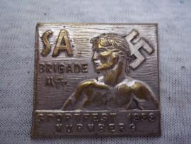 German tinnie, rally badge, Duitse Tinnie SA Brigade Mittel Franken - sportfest 1933 Nurnberg.