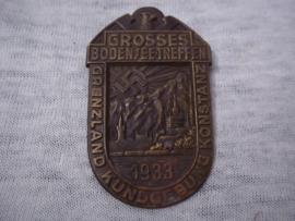 German tinnie, rally badge. Duitse tinnie Grosses Bodensee-treffen. Grenzland kundgebung konstanz 1933.