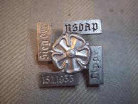 German Tinnie NSDAP, 15-1-1933 Sieg der NSDAP Lippe. Vroege Duitse tinnie van de NSDAP, mooi gemarkeerd TOP, vrij apart.